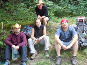 Cheryl, Graham, Cheryl's Brother Chris and their friend Ben on the Long Trail