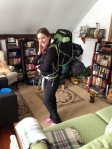 Cheryl all packed and ready for trail.