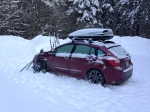 The Impreza in the morning at the trail head.