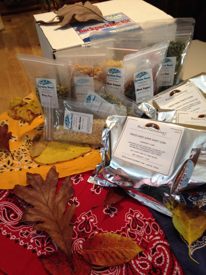 Dehydrated and Freeze Dried Foods-  Many of our recipe ideas are inspired by staring long enough at the ingredients in our Back Packers Kit by Harmony House.  Lately we've begun to supplement with some freeze dried items from an on line company called PackIt Gourmet, a site well worth the visit for the aspiring trail side gourmand.  Between the two sources, we are only limited by our imaginations.